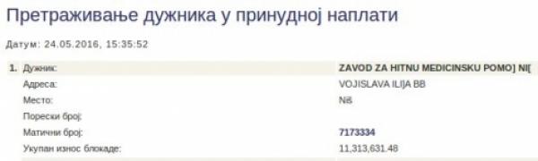 """Хитној у Нишу треба """"Хитна"""" : Због пореског дуга без возила"""